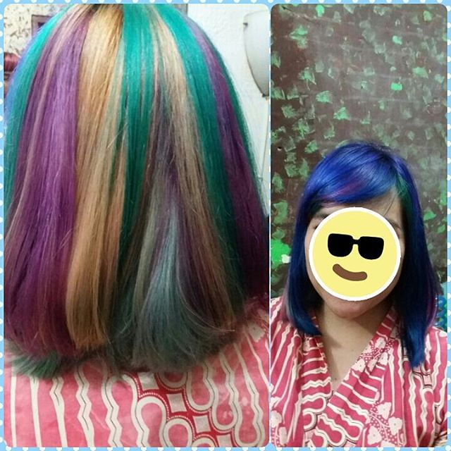Contoh Rainbow Hair Coloring by Dido Salon